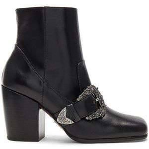 Coach Black Western Buckle Bootie  Leather NEW